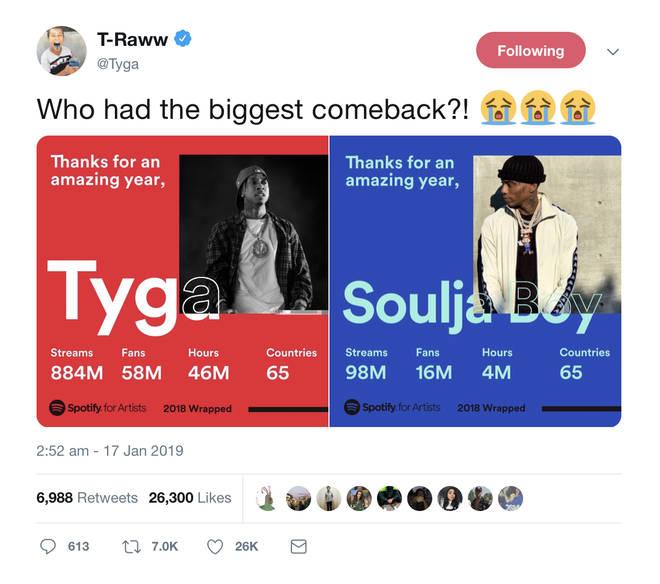 Tyga shared a comparison on Twitter.