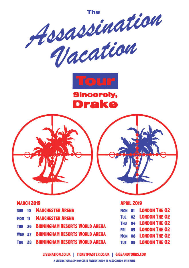 Drake's UK Tour dates for 2019
