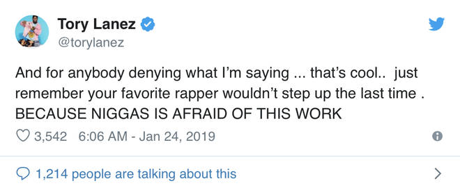 tory lanes challenges other rappers