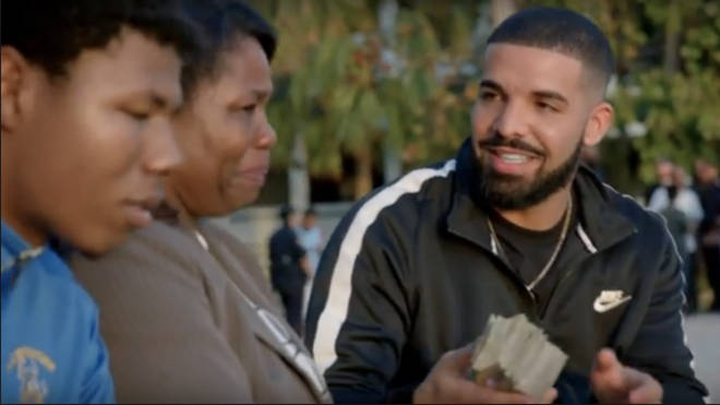 Drake giving money in gods plan video
