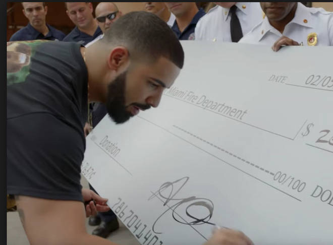 Drake giving out money to fire department