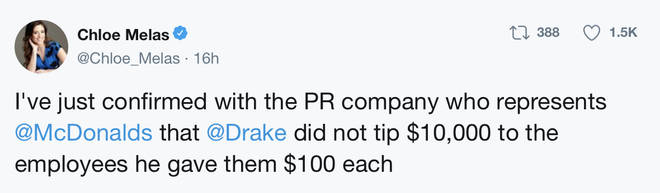 Drake did not give out $20,000