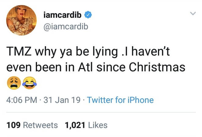 Cardi accused the publication of lying.
