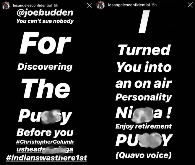 The rapper hit out at Budden.