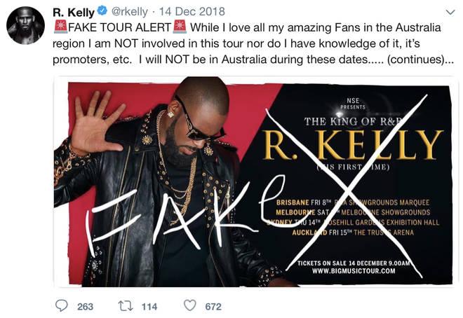 R. Kelly denies fake tour but later announces his international tour