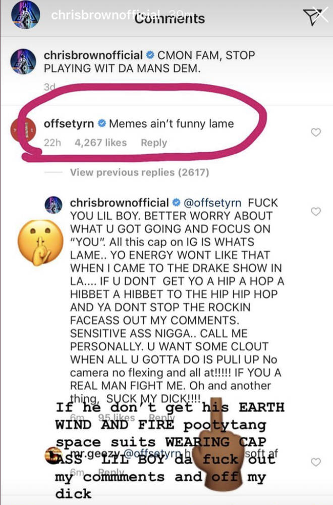 Chris Brown's goes off on Offset in explosive rant