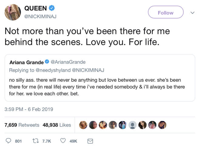 Nicki Minaj expresses how much Ariana Grande has been there for her in tweet