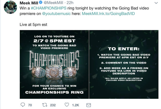 Meek Mill creates a competition for fans to win a Championships ring