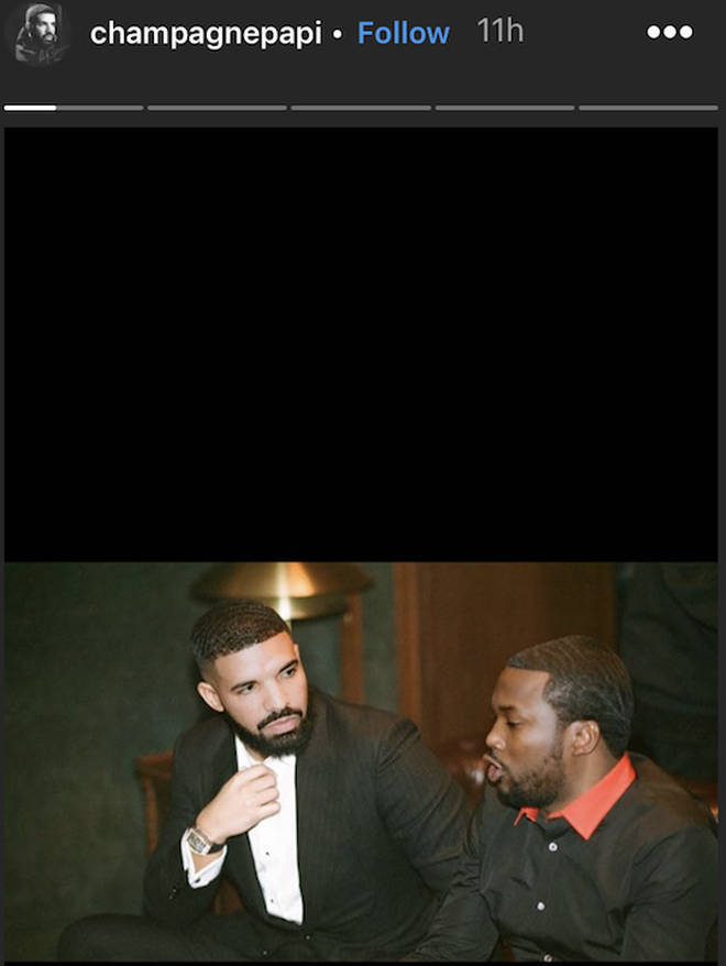 Drake posts a picture of him and Meek Mill together on his Instagram Story after the video released