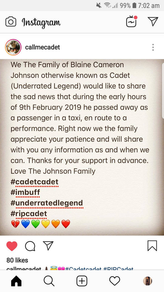 Cadet's family shared a statement followmg the rapper's death