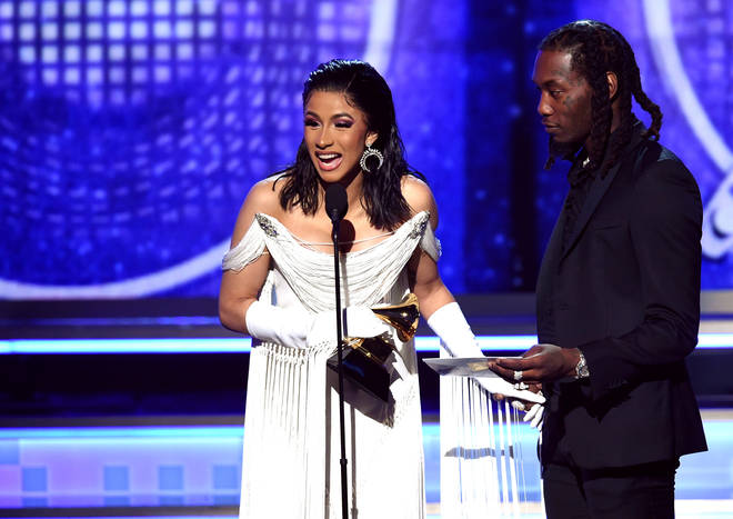 Cardi was joined by husband Offset to accept her award for the Best Rap Album.