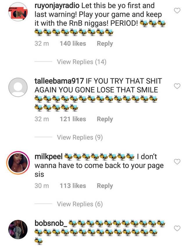 Beyoncé fans flooded Lori Hrvey's comments with Bumble Bee emojis