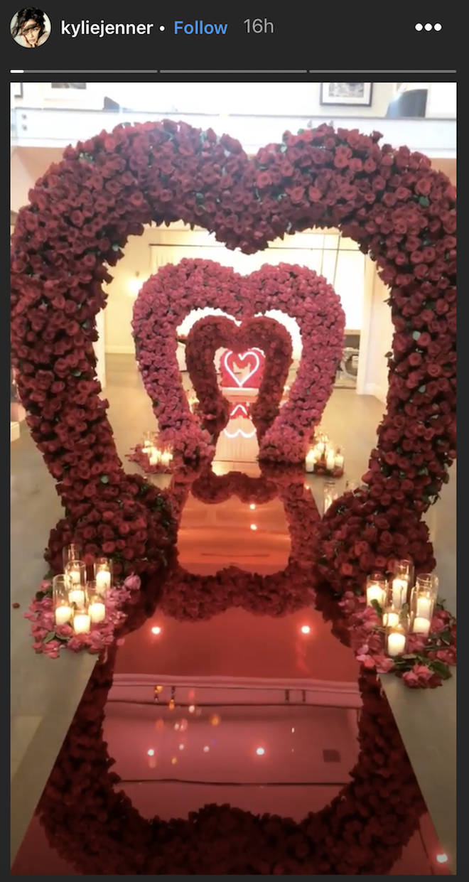 Kylie Jenner receives an aisle of love with red roses from boyfriend Travis Scott
