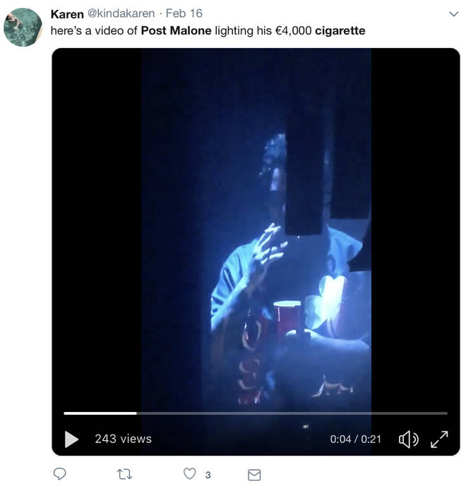 A fan on Twitter captures Post Malone smoking his €4,000 cigarette