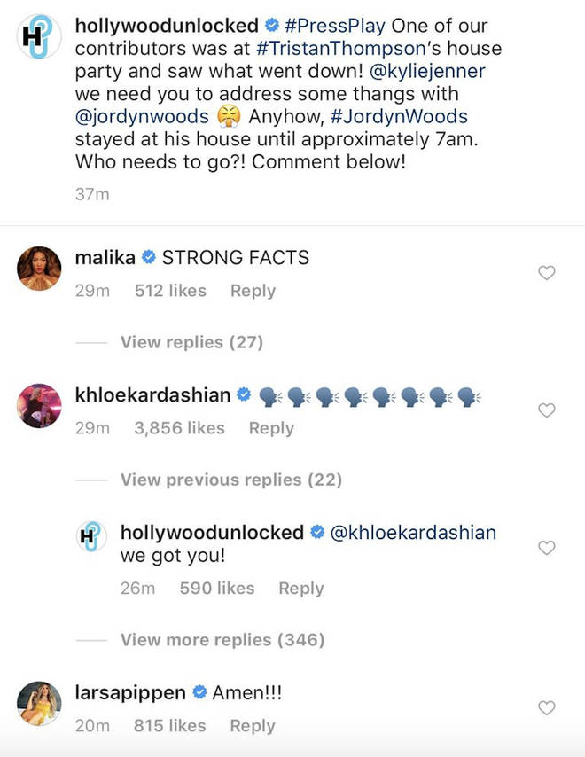 Khloe responded on Instagram.