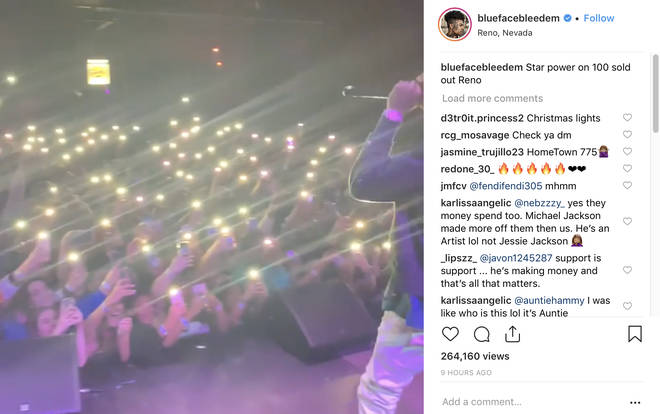 Blueface shares a video from his most recent concert in Nevada