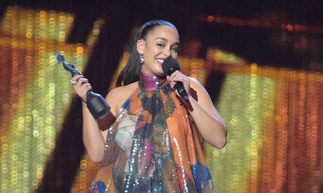Jorja Smith accepts her BRIT Award.