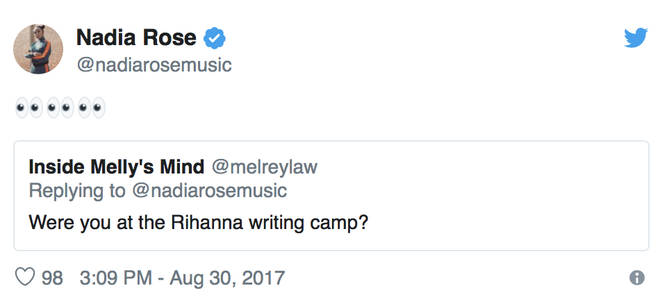 Nadia Rose responds to fan asking if she was at Rihanna's writing camp