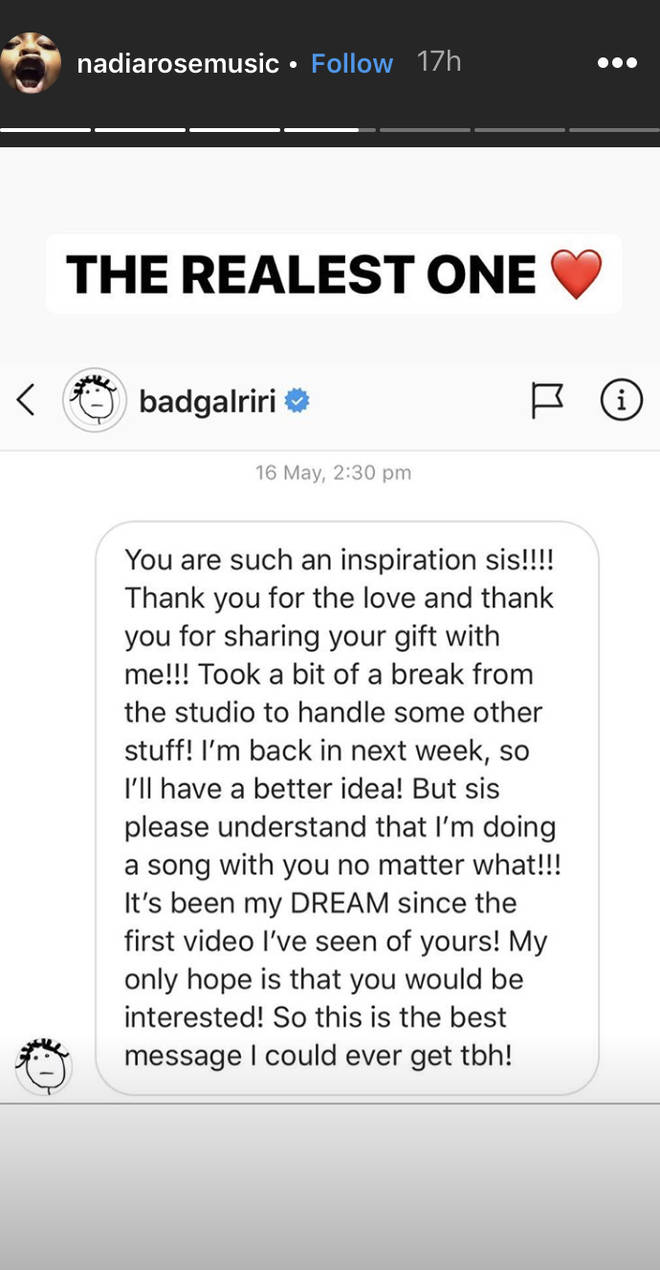 Nadia Rose shares a screenshot of her direct messages with Rihanna