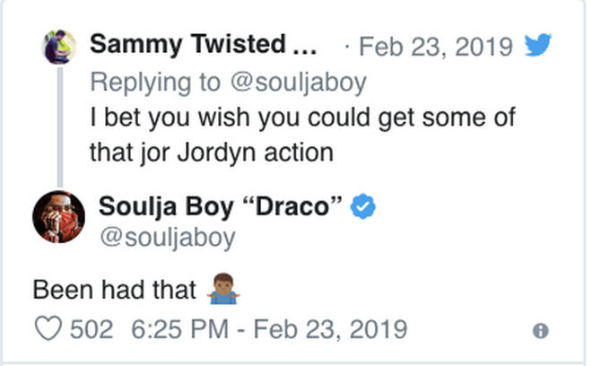 "Soulja Boy claims he ""been had"" Jordyn Woods"