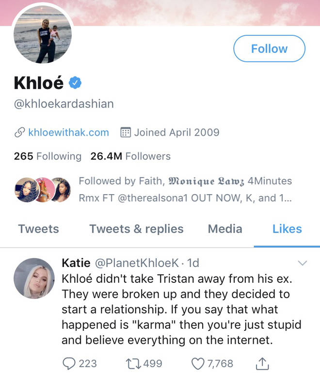 Khloe Kardashian likes tweet about Tristan's ex-girlfriend