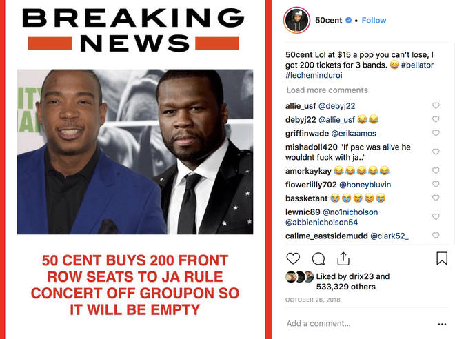 50 cent buys 200 tickets at Ja Rule concert just to keep seats empty