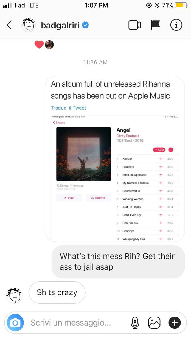 Rihanna appeared to respond to a fan who pointed out the leak.