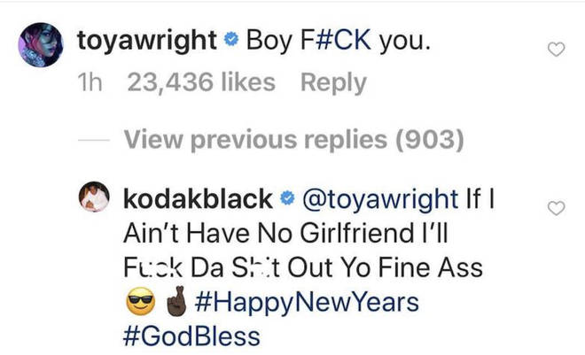 Kodak Black slams Toya Wright after she came to the defence of her daughter