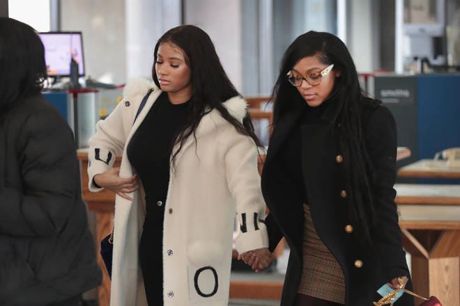R. Kelly's girlfriends turned up to his bond hearing for sexual assault case. Jocelyn Savage on the right, Azriel Clary spotted on the left