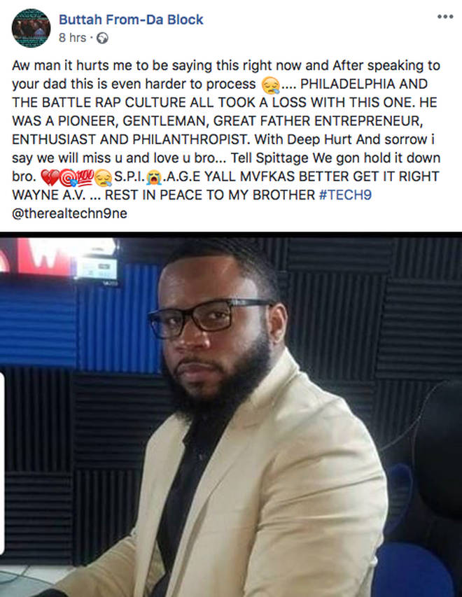 Buttah announced Tech 9's death on Facebook