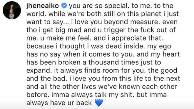 Jhené poured her heart out in Big Sean's comments section.