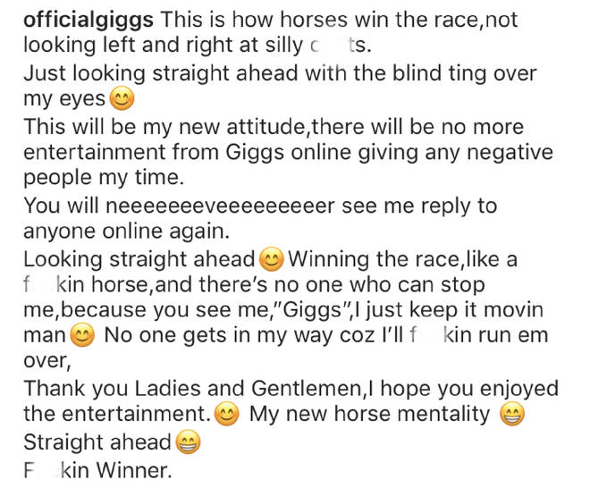 Giggs compared his new attitude to that of a race horse.