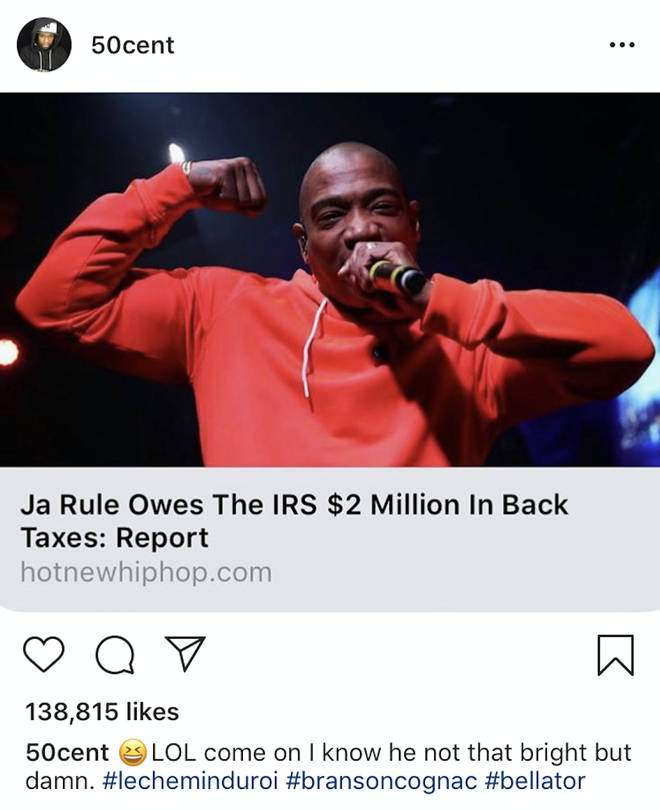 The rapper took aim at Ja Rule over his alleged money issues.