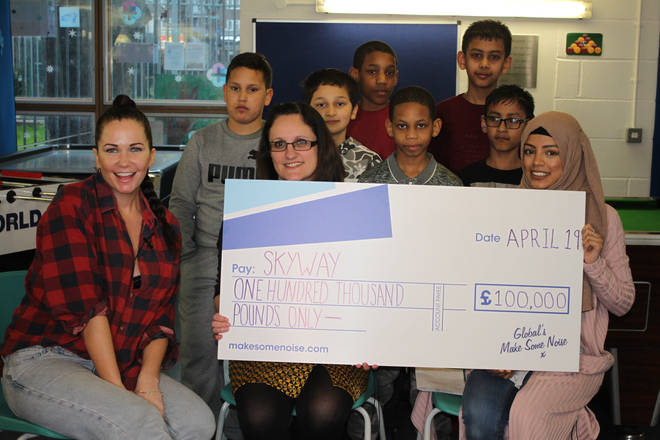 Toni Phillips presented SkyWay with a cheque for £100,000
