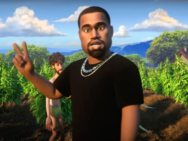 Kanye West is voiced by Kevin Hart in the animated video.