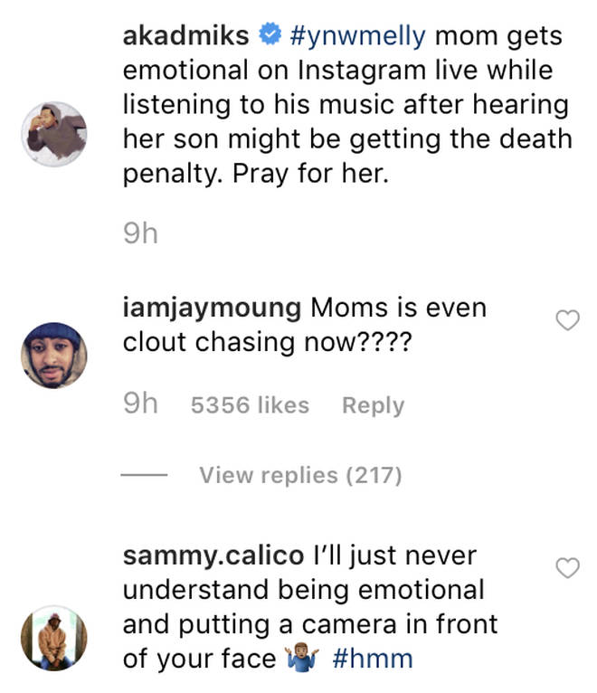 YNW Melly's mother receives online backlash for emotional Instagram Live video