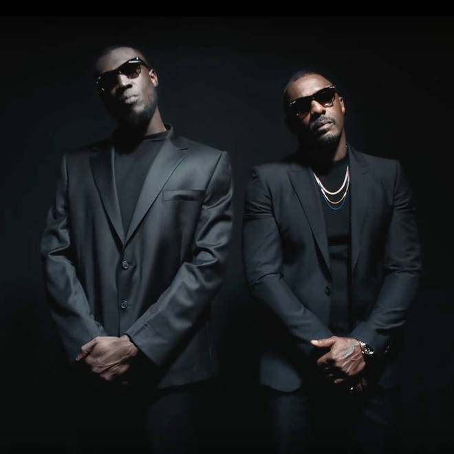 Stormzy and Idris Elba in the music video for 'Vossi Bop.'