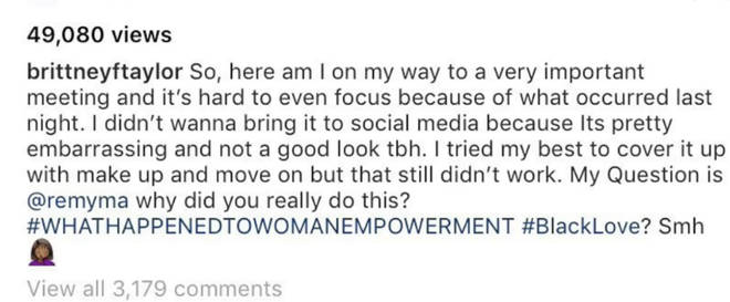 Brittney Taylor tags Remy Ma in the post of her black eye and asks why she assaulted her