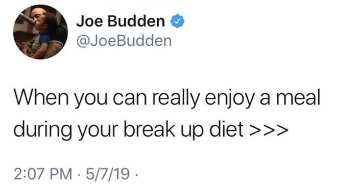 "Budden subtly mocked the split by admitting he&squot;s enjoying his ""break-up diet."""