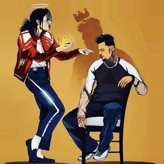 In the image, Jackson passes a golden crown to Brown, referring to his 'King Of Pop' title.