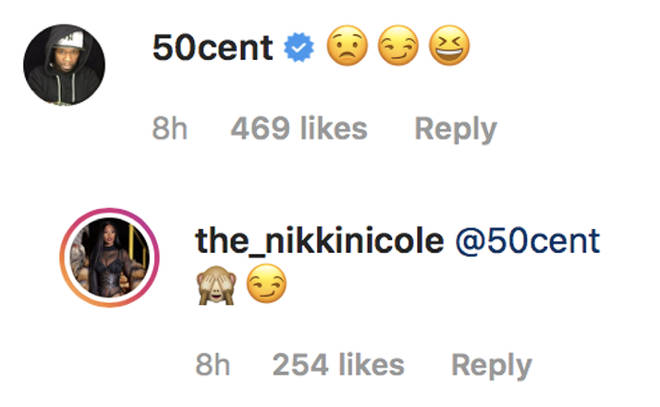 Fifty publicly flirted with his rumoured girlfriend Nikki.