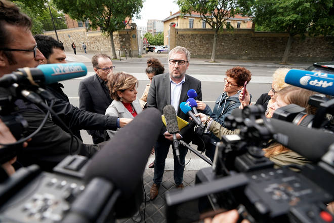 US lawyer Gloria Allred (L) and French lawyer Jean-Marc Descoubes address the press on May 28, 2019 outside a French crime Police headquarters in Paris.