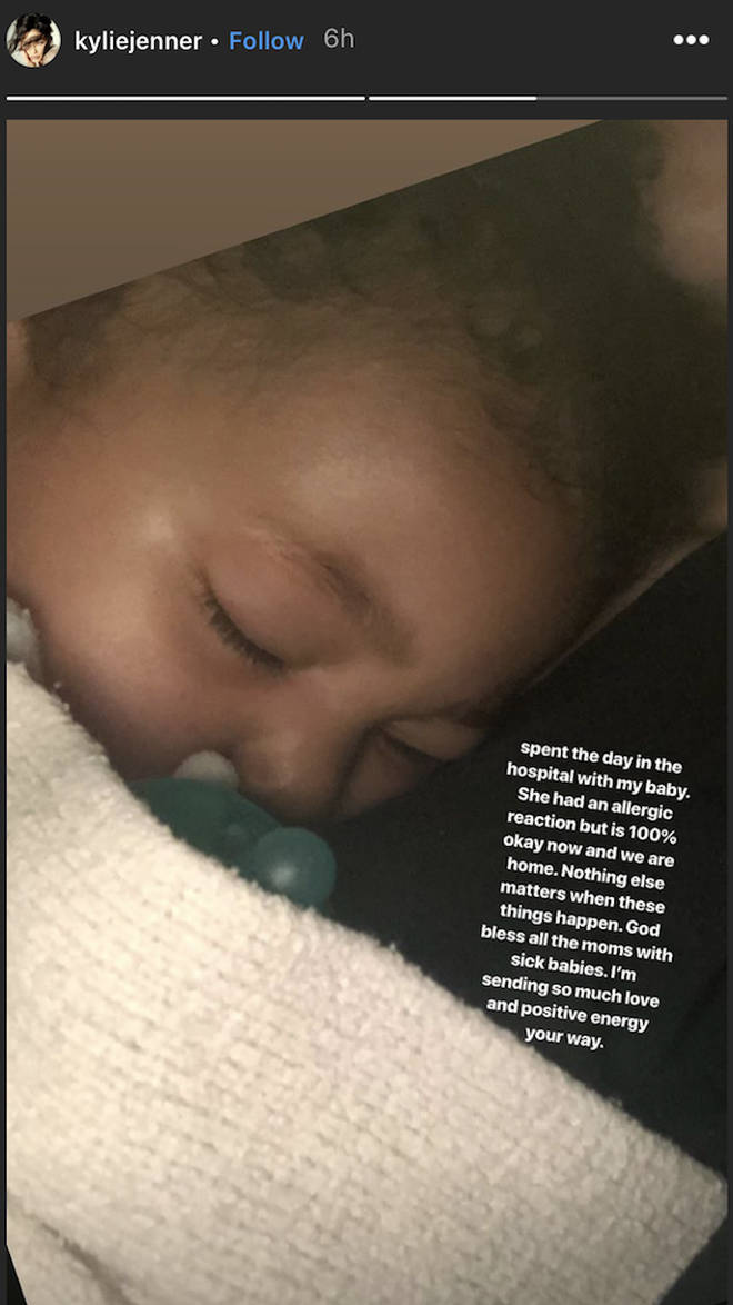 Kylie Jenner took to Instagram to share the news that Stormi was hospitalised with her fans