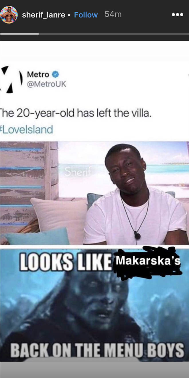 Love Island's Sherif hinted that he's off to Makarska in Croatia after being kicked off the show.