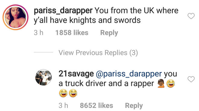 21 Savage claps back at a fan in his comment section