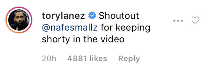 Tory Lanez gives a shout out to Nafe Smallz for keeping the dark skinned model in the video