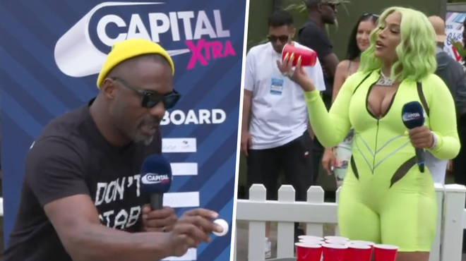 Idris. and Steff go head to head in a game of Beer Pong
