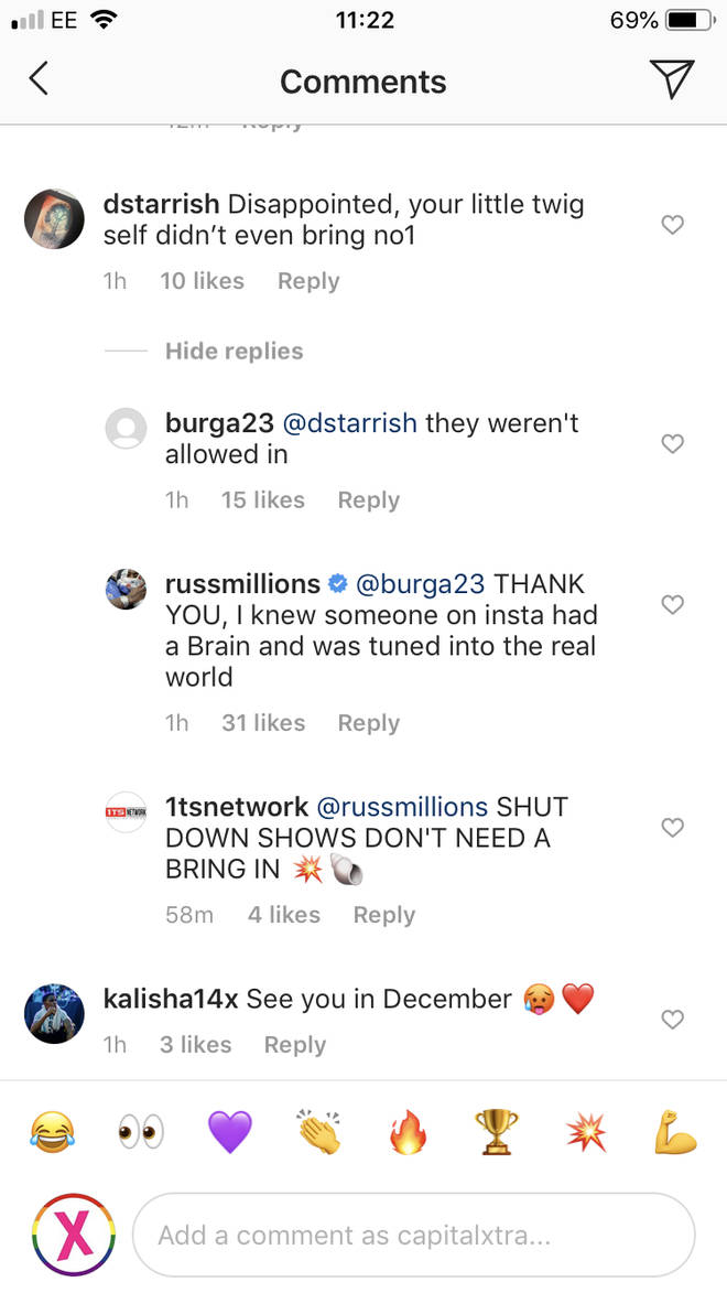 Russ responds to fans in his comments