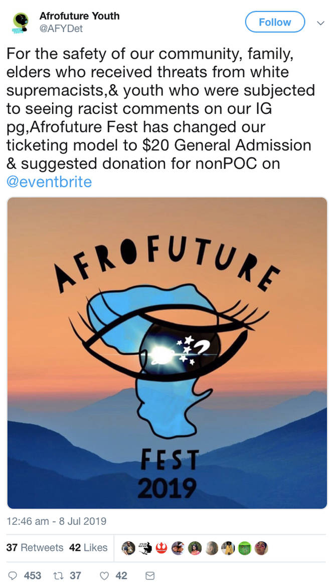Afro Future Youth have announced they changed their ticketing model after 'white supremacist' threats