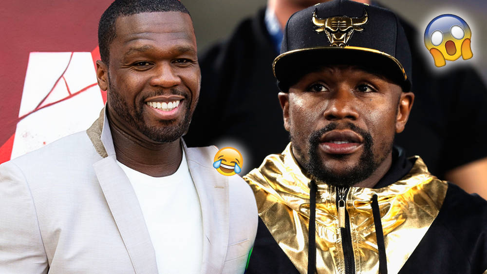"50 Cent Mocks Floyd Mayweather's HUGE Chanel Bag Using ""Drip Too Hard"" Lyrics"